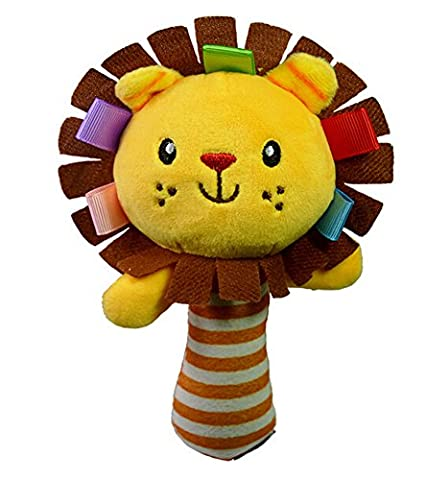 ODN Kid Toy Ring Bell BB Baby Plush Rattle Squeaker Early Educational Doll Rod Cute Cartoon Animal Musical Plush Toy (Yellow