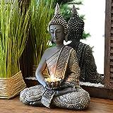 INtrenDU® Buda Figura Decorativa Chino 31cm con candelabro decoración Zen para Interior Feng Shui
