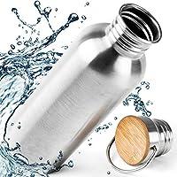 Trinkflasche 1L Edelstahl - Auslaufsicher Wasserflasche Normal und Isoliert (1000ml), 0,75L (750ml), 0,5L (500ml) 0,35L (350 ml) - 110% PREMIUM GARANTIE. BPA Frei, Outdoor, Sport mit Bambus Kappe, Kein Plastik, Ohne Logos