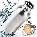 Edelstahl Trinkflasche 500ml 0,5L / 750ml 0,75L / 1000ml 1L Auslaufsicher - Isoliert / Normal - BPA Frei, 110% Geld-zurück-GARANTIE für Kinder, Sport, Fahrrad, Bambus Kappe Kein Plastik Ohne Logos