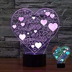 Idea Regalo - I Love You Amore Cuore 3D LED Illusion Visual Light Cambiare la Lampada a Colori Illusion Luce Notturna per Coppia Notte Romantica Regalo di San Valentino