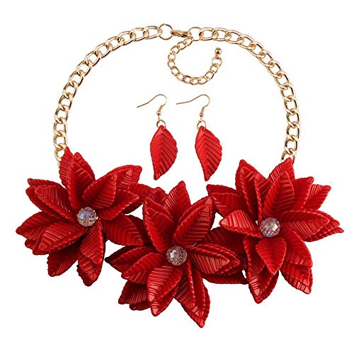 Yazilind Modeschmuck Mädchen Blume Charme Chunky Chain Bib Statement Chunky Halskette und Ohrringe Set Rot