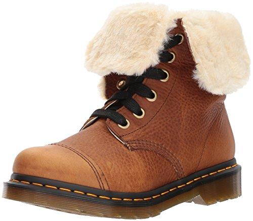Dr.Martens Womens Aimilita 9-Eyelet Fur Lined Tan Leather Boots 39 EU