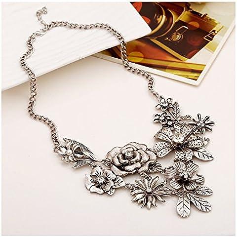 S&E Ropa de mujeres de plata de Bohemia de las flores collar de la declaración grande vestuario Gargantilla Collar Cadena