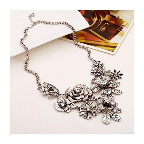 S&E Ropa de mujeres de plata de Bohemia de las flores collar de la declaración grande vestuario Gargantilla Collar Cadena Chunky