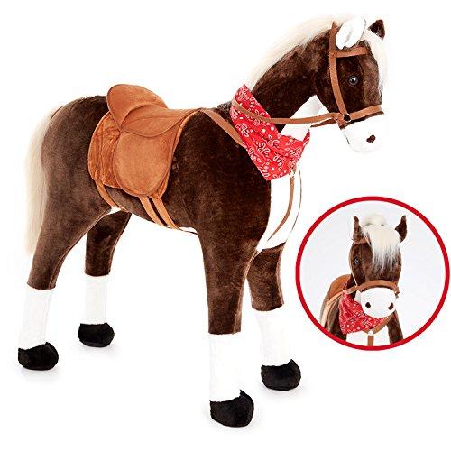 KNORRTOYS.COM Großes XXL Standpferd Liana mit Sattel Braun Pferd Stehpferd Reitpferd Reiten - Plüsch-pferd Lebensgroße