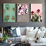 tzxdbh Nordischen Stil Moderne Blumen Bilder Öl Leinwand Malerei für Wohnzimmer Wandkunst Leinwand Garten Dekoration 3 Bilder Rosen Liebhaber in 50x70 cm Weiß