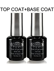 Base Top Coat Vernis Gel - Perfect Summer Soak Off UV LED Vernis à Ongles Gel Semi Permanent Nail Art Manucure Couleur Transparente 2 flacons x 8ml