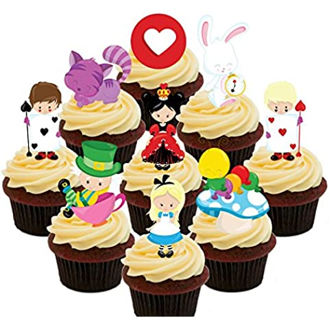 Alice nel paese delle meraviglie, topper per Cupcake commestibile Party Pack-Stand-up-Decorazioni per torta, motivo: Wafer, Pack of 72