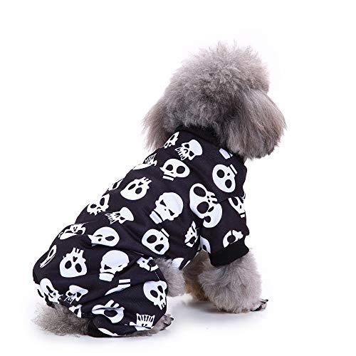 Aoweika Haustier Skelett Halloween Kostüm, Halloween Skelett Kostüm, Halloween Skelett Haustier Hundekostüm Stoff, Partei Kleidung für Katzen kleinen Hund