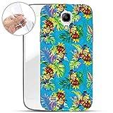 Hülle für Samsung Galaxy S4 Mini - Minions Handyhülle mit Motiv und Optimalen Schutz TPU Silikon Tasche Case Cover Schutzhülle - Minion Tropical Muster