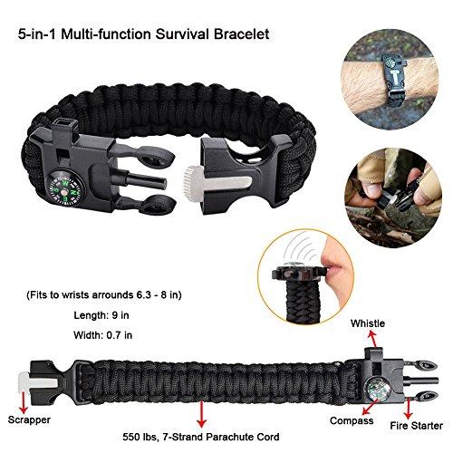 Outdoor Survival Kit 11 in 1, Emergency Survival Gear Tool mit Messer, Kompass, Notfall Decke, Feuer Starter, Taschenlampe, Whistle, Tactical Pen etc für Camping, Wandern, Klettern, Ausflüge - 3
