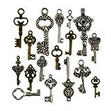 #6: Generic 60pcs Antique Bronze Silver Vintage Skeleton Keys Charm Set DIY Handmade Accessories Necklace Pendants
