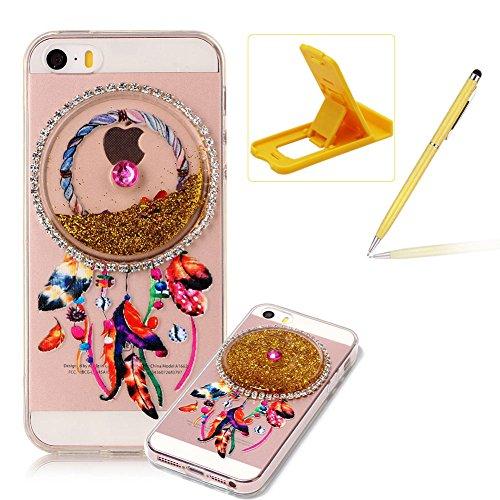 Custodia per Apple iPhone SE/ 5S/ 5 case,Herzzer Mode Crystal iPhone SE/ 5S/ 5 Elegante Creativo trasparente acchiappasogni con Bling Diamanti Strass Glitter liquido cuore amore Sabbie mobili Flusso B Oro