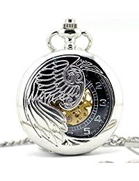 Infinite U Alas de Águila/Angel/Phoenix Acero Mano-viento Reloj de bolsillo mecánico Plateado