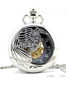 Unendlich U Luxus Adler/Phönixe Retro Handaufzug Mechanische Taschenuhr Skelett Kettenuhr Pullover Halskette Silber