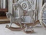 Chic Antique 23cm 1x Pferd Schaukelpferd Champagner Silber zur Dekoration Dekopferd Landhaus Shabby Chic Vintage French Chic Weihnachten Weihnachtsdeko