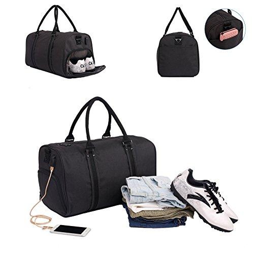 Turnbeutel 22l-36l hiquaty Sports Duffels Tasche wasserdicht Gepäck Umhängetasche Taschen mit Schuhe Fach für 43,2cm gratis Get A Geschenk Schwarz