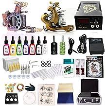 LVYY Kit Di Tatuaggi Completi Di Alta Qualità Pro 2 Pistole Di Macchinari Per Tatuaggi 7 Colori Di Base Inchiostro Del Tatuaggio 20 Aghi Per Tatuatori Fornitura Permanente Di Macchine Per Tatuaggio