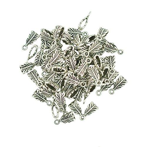MagiDeal 100pcs Pendentif Plume Bailleur Spacer Perles Raccord Bracelet Collier