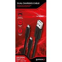 Gioteck - Cable De Carga Dual Para Mandos (PS4, Xbox One)