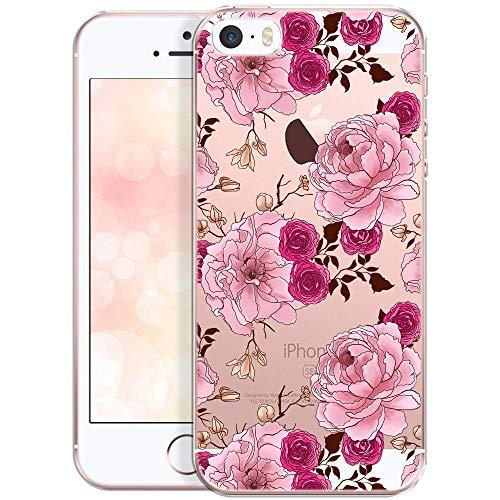 OOH!COLOR Handyhülle kompatibel mit iPhone 5 iPhone SE iPhone 5s Hülle Silikon Blumen Motiv transparent dünn Schutzhülle durchsichtig Case Pfingstrosen und Rosenblüten (EINWEG) (Iphone 5s Case-tasche Für Frauen)