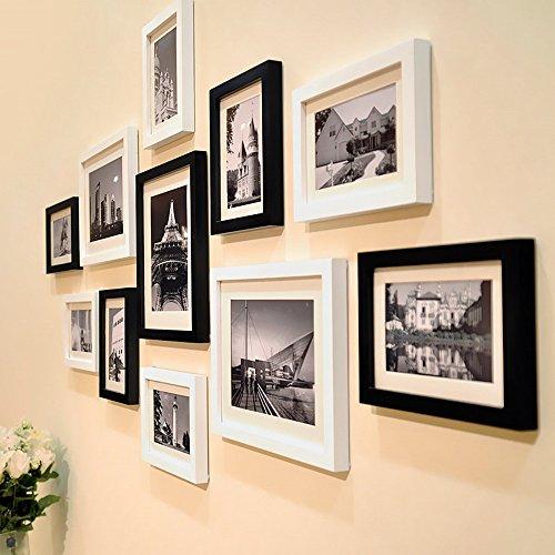 MJATOP Romantischen Holz Bilderrahmen SET Rahmen Fotorahmen, 1 Set 11Bilderrahmen (Schwarz mit Weiß)
