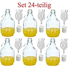 Set 24 pezzi, bottiglia fiasco + tappi + tubicini di fermentazione + chiusura, 5 litri, BDG5D