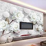Wandgemälde Benutzerdefinierte Wandbild Tapete Europäischen Stil 3D Stereoskopische Relief Blume Kreis Ball Tv Hintergrund Wanddekor Tapete Wohnzimmer,180Cm(H)×280Cm(W)