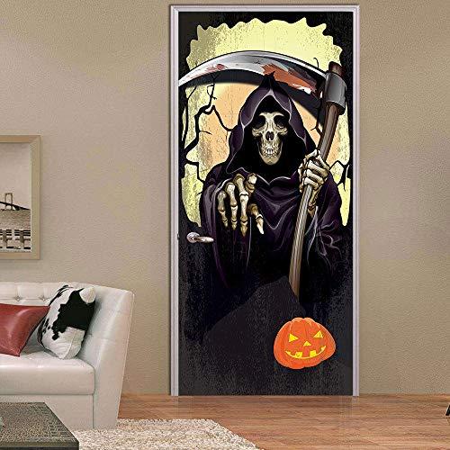 ild 3D Halloween-Tod für Schlafzimmer-BadezimmerEp selbstklebender PVC-Wand-Aufkleber, 77X200Cm ()