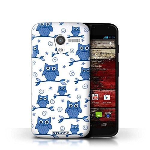 Kobalt® Imprimé Etui / Coque pour Motorola MOTO X / Rouge/Blanc conception / Série Motif Hibou Bleu/Blanc