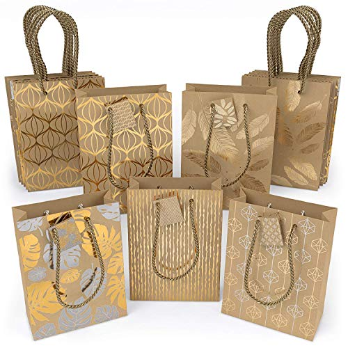 cb52008b7 ARTEZA Bolsas de regalo   24 x 17.8 x 8.6 cm   15 bolsas surtidas   5  diseños originales de láminas metálicas   3 bolsas de cada diseño   Papel  kraft ...