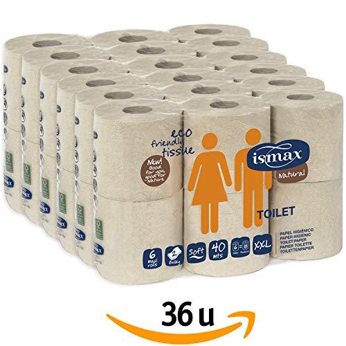 Papel Higiénico Reciclado Baño Rollo Ecologico Wc Pack 36 unidades 158 gr/uni 6 Paquetes - Rollos Water 2 Capas 320 Servicios Verde Ecologico Natural XXL