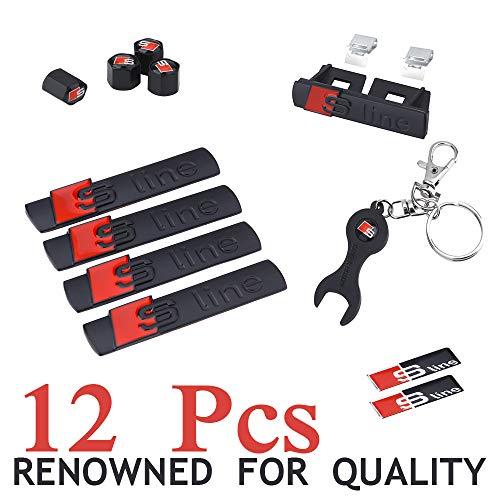 12 PC - Set Black S line Abzeichen Aufkleber Emblem Frontgrill Emblem Schlüsselanhänger Alufelgen Ventilkit Für Audi A1 S1 A2 S2 A3 S3 RS3 A4 S4 RS4 A5 S5 RS5 A6 S6 RS6 A7 S7 RS7 A8 S8 RS8 Q2 Q3 Q5