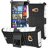 GizzmoHeaven Microsoft Lumia 535 stoßfest Handy Schutzhülle Stoßgedämpfter extraharte Stylischer Silikon Cover Case hülle mit Ständer für Microsoft Lumia 535 - weiß