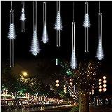 Tubo de Luces STONG 50cm 8Tubo Guirnalda de Luces 240LED Meteoros Lluvia Luces Impermeable Guirnaldas Luminosas para Festival de Decoración del árbol de Navidad Wedding(Blanco)