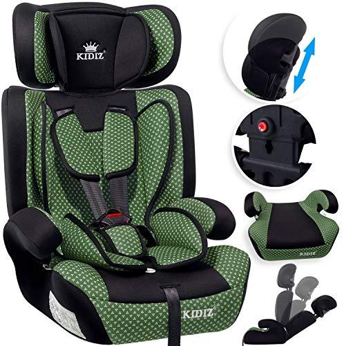 KIDIZ® Autokindersitz Kindersitz Kinderautositz | Autositz Sitzschale | 9 kg - 36 kg 1-12 Jahre | Gruppe 1/2 / 3 | universal | zugelassen nach ECE R44/04 | 6 verschiedenen Farben | Grün