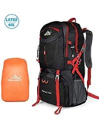 PATISZON 60L Mochila de Senderismo Trekking Alpinismo Camping Impermeable Viaje Mochila (Negro) (Negro
