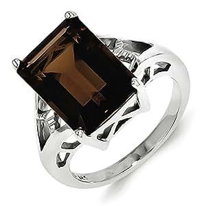 Sterling Silver Rhodium Smokey Quartz Ring - Size P 1/2 - JewelryWeb