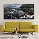 CYACC Poster di Arte Murale Nurburgring Rally Road Sports Car Track HD Stampa su Tela Pittura Foresta Paesaggio Soggiorno Decorazioni per La Casa Immagine