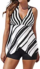 HITSAN INCORPORATION BTLIGE Deep V-Neck Halter Swimming Suits Women 2018 Striped Two Piece Swimsuits Tankini Plus Size Swimwear Tops+Shorts 6XL Color White Size 6XL
