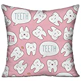 """Jolly2T Kawaii Dentist Teeth Pillow Covers Durable for Sofa Bedroom Car - Inserts Are Not Included - 18"""" X 18"""""""