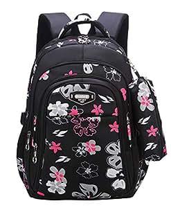 Girl Flower Printed Primary Junior High University School Bag Bookbag Backpack with Pencil Case 2sets(19 Liters, Style C Black)