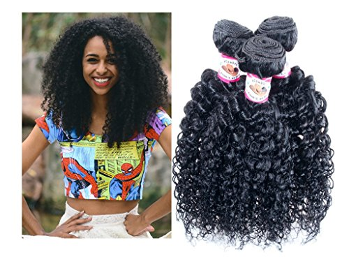 Hair In Extensions Bundles (#1 Best Seller JERRY CURL Brazilian Virgin Hair Weave Extensions 3 Bundle Pack with 50% Off LACE CLOSURE DEAL Curls Hair Weft Track 100 Human Hair GUARANTEED Natural Black Color -080808 by eCowboy)