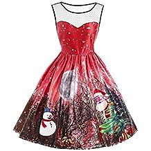2c575d2f23d iBâste Robes Femmes Fêtes Noël Jupes avec Imprimé du Pape Noel Robe sans  Manches Hiver Automne
