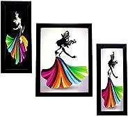Indianara Wooden Framed Wall Hanging Art(Multicolour, 35.8x28x3.6cm) - Set of 3