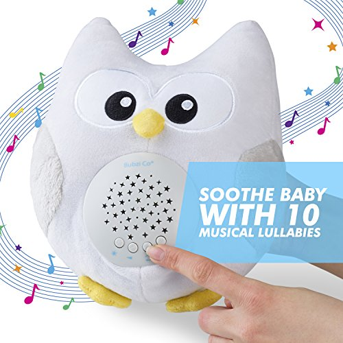 Bubzi Co Baby Sleep Aid Night Light & Shusher Sound Machine & Baby Gift, Woodland Owl Decor Nursery & Portable Soother Stuffed Animals Owl with 10 Popular Songs For Crib to Comfort Plush Toy …