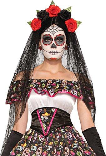 Damen Mexikanisch Senorita Tag der Toten Blume Schleier Maskenkostüm Stirnband
