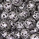 50pièces 8mm en métal Creux/Perles en Filigrane–Sélection de Couleur Noir–A6758