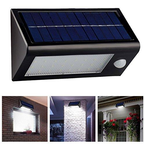 LingsFire étanche IP65 Super Bright 400 Lumens 32 LED lampe solaire détecteur de mouvement, lumière de nuit sans fil Propulsé PIR Motion Sensor capteur optique induction Lampe de nuit Pour extérieure Lumière de mur, Lumière de sécurité pour Porte, Entrée, Chemins, jardin ,Patios(noir)